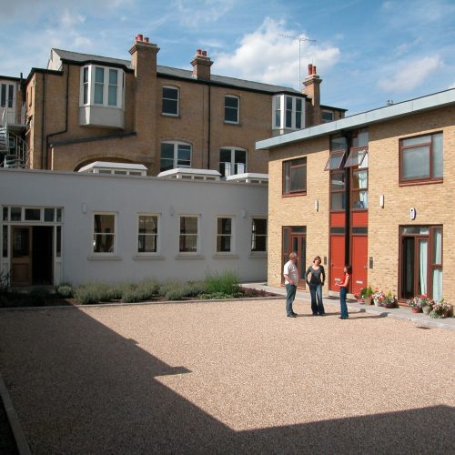 Poplar Library project - rear new build terraces