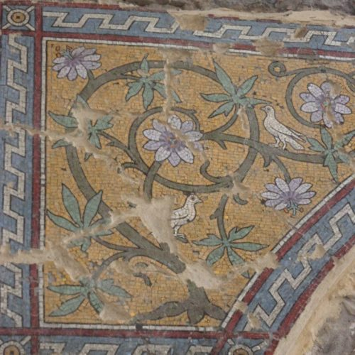 St George's project - restored lilac flower mosaic